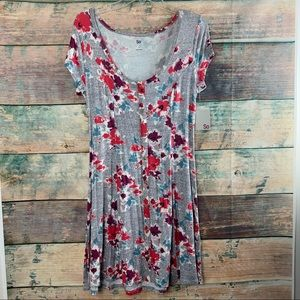 Gray Floral Button Front Dress SO Sz M NWT
